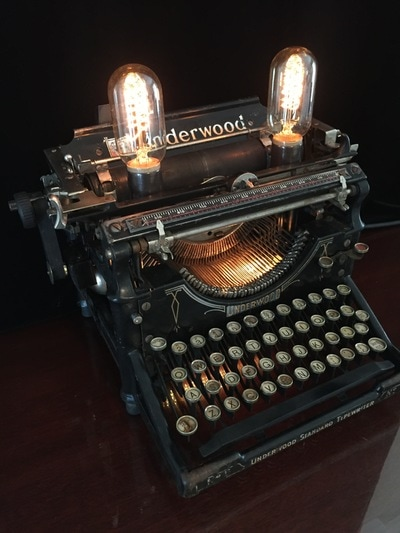 Typewriter lamp with Edison bulbs