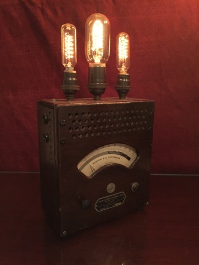 Voltmeter illuminated with Edison bulbs