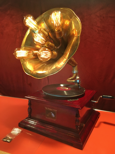 Gramophone with Edison bulb lighting